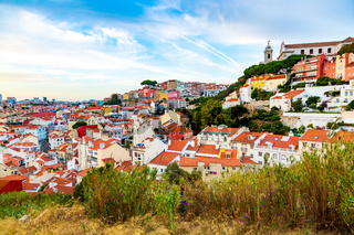 Panorama of old town and igreja da graca church in lisbon, Portugal