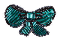 bow tie shaped brooch from glass green bugles