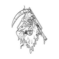 Grim Reaper Holding Smoking Hot Cup of Coffee and Scythe Tattoo Line Drawing Black and White