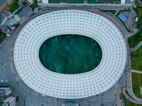 Top football stadium with sea water.