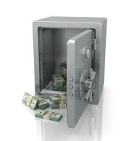 Open safe with dollars.