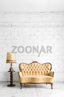 Brown sofa with lamp
