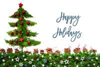 Christmas Tree, Red Balls, Fir Branch, Text Happy Holidays