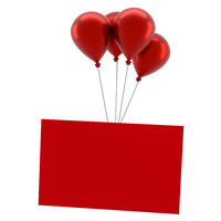 Shiny red balloons with a blank red card