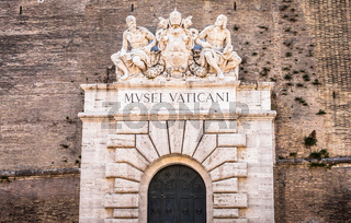 Entrance of the famous Vatican Museum building in Rome, Italy