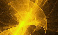 Neon glowing yellow twisted cosmic lines flying in the space. Turbulence curls flow colorful motion. Fluid and smooth astronomy vortex swirl structure. Abstract creative modern background