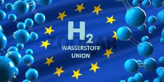 H2 Wasserstoffunion Hydrogen Molecule EU