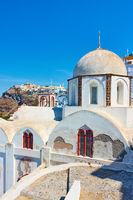 Greek church in Fira town in Santorini
