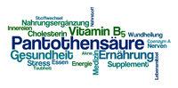 Word Cloud on a white background - Pantothenic acid - Pantothensaeure (German)
