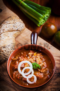 Hearty goulash soup  - traditional Hungarian cuisine