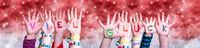 Children Hands Viel Glueck Means Good Luck, Red Christmas Background