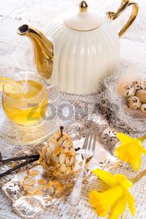 almonds pear and tea