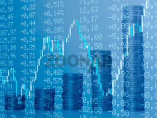 Background with financial charts and coin stacks