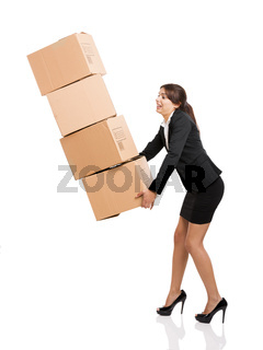 Business woman with card boxes