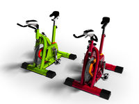 Modern green and red exercise bikes perspective 3d render on white background with shadow