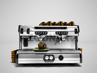 Modern coffee machine with set of brown cups for preparing coffee 3d render isolated against gray background with shadow