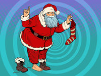 Santa Claus with a gift sock. New year and Christmas