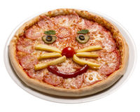 Pepperoni children's pizza will see a smiley face Isolated image on white background.