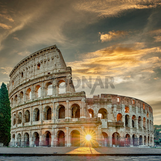 Colosseum at sunrise in Rome