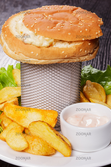 Snack from sandwich and fried potato