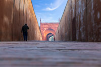 Agra Fort and lonely indian men in the early morning, India