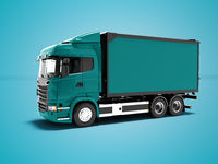 Modern blue truck for transportation of goods around the city 3d render on blue background with shadow