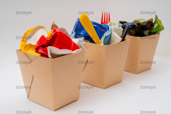 Separate garbage collection. Paper, Plastic, Glass. Environmental pollution.