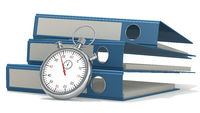 Classic stopwatch and blue folders