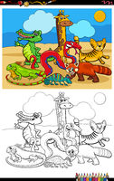 cartoon funny wild animals group coloring book page
