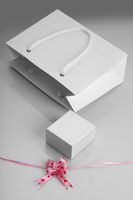 White Paper Bag, Jewelry Box and Gift Ribbon for Mockups