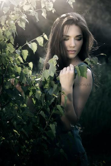 beautiful woman in nature scenery