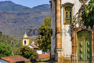 Historic churches in colonial style from the 18th century in the city of Ouro Preto