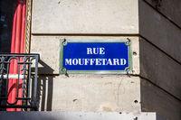 Rue Mouffetard street sign, Paris, France