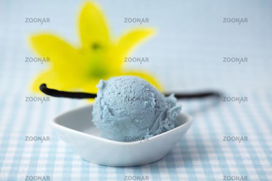 Blaues Vanilleeis gefärbt als Schlumpfeis mit Pflanze