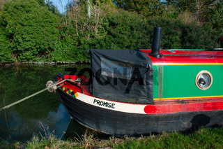 A Narrow boat called Promise moored on the Oxford canal in Oxford, England
