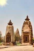 Hindu Temples of Love in Kajuraho. Retro color photo