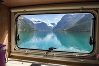 View from the window of the motorhome RV Caravan on the beautiful nature of Norway