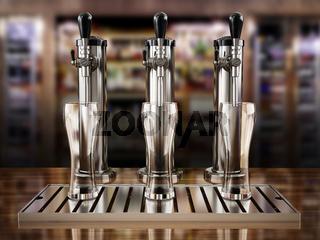 Beer taps on bar counter. 3D illustration