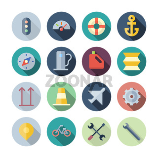 Flat Design Icons For Transportation