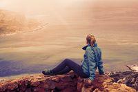 Woman On Viewpoint Above Balos Bay On Kreta