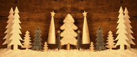 Banner, Christmas Trees, Snow, Brown Retro Background