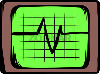 Electrocardiogram monitor icon cartoon
