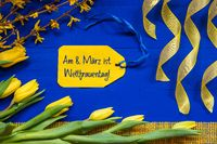 Spring Flowers, Branch, Label, Weltfrauentag Mean International Womens Day
