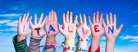 Children Hands Building Word Italien Means Italy, Blue Sky