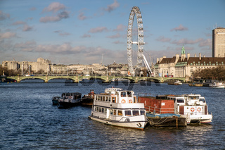 View along the River Thames to the London Eye