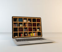 Library in laptop screen realistic 3D rendering