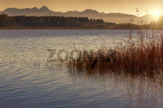 Sonnenuntergang an einem See in Bayern