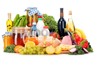 Composition with variety of grocery products isolated on white