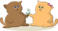 Cartoon Cats with Flower