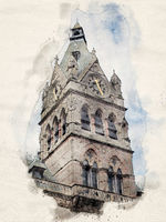 watercolor painting of the clock tower of chester town hall against a blue cloudy sky